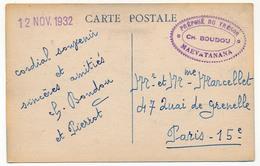 """MADAGASCAR - Marque De Franchise Civile """"Préposé Du Trésor CH. BOUDOU - MAEVATANANA"""" 12 Novembre 1932 Sur CPA - Otros"""