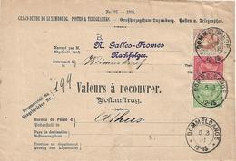 Luxembourg - GD Adolphe - 35c Postaustrag - Valeurs A Recouvrer - Dommeldange To Athus, Belgium In 1901 - 5c, 10c & 20c