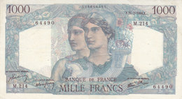 Billet 1000 F Minerve Et Hercule Du 21-2-1946 FAY 41.11 Alph. M.214 - 1 000 F 1945-1950 ''Minerve Et Hercule''