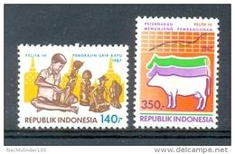 Mgm1284 FAUNA VISSEN KOE 4E VIJFJARENPLAN PELITA IV RUND FISH COW INDONESIË INDONESIA 1987 PF/MNH  VANAF1EURO - Koeien