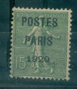 FRANCE PREOBLITERE N° 25 N ( X ) Signé R. Calves.POSTE PARIS 1920 Cote : 125 €  Tb