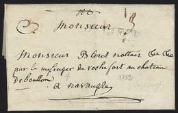"""L 1782 Marque LIEGE Pour Navaugle + """"par Le Messager De Rochefort Au Château De Bouillon"""" - 1714-1794 (Austrian Netherlands)"""