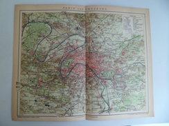 Gravure Lithographie 1905 Brockhaus Cartes Plan PARIS Et Ses Environs France - Cartes Géographiques