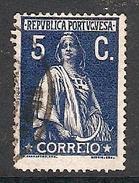 004333 Portugal 1917 Ceres 5c FU Perf 15 X 14 - 1910-... Republic