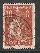 004334 Portugal 1917 Ceres 10c FU Perf 15 X 14 - 1910-... Republic