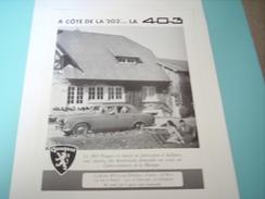 ANCIENNE PUBLICITE PEUGEOT LA 403 1955 - Cars