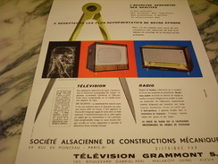 ANCIENNE PUBLICITE TELEVISION GRAMMONT S A  1957 - Television