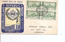 Pakistan ( FDC De 1956 Avec Timbres En Bloc De 4 à Voir) - Pakistan