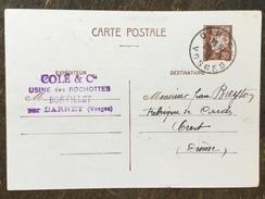 B22 France Frankreich Entier Postal Stationery Ganzsache YT 512-CP2 De Darney Vosges Pour Crest