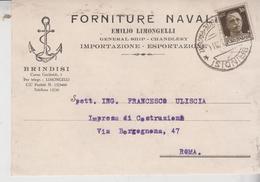 Regno 1939 Brindisi Forniture Navali  Gg - Storia Postale