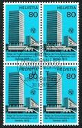 U.I.T. BLOC DE 4 TIMBRES OBLITERES 1er JOUR 1973 C/DES TIMBRES SUISSES Nr:10. Y&TELLIER Nr:441. MICHEL Nr:10.