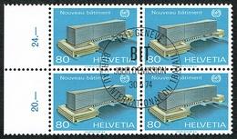 B.I.T. BLOC DE 4 TIMBRES OBLITERES 1er JOUR 1974 C/DES TIMBRES SUISSES Nr:105. Y&TELLIER Nr:442. MICHEL Nr:104.