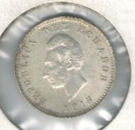 Ecuador 1/2 Decimo 1915, AUNC, Silver Coin. - Ecuador