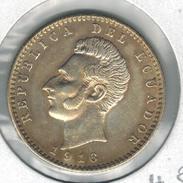 Ecuador 2 Decimos De Sucre 1916, XF , Silver Coin.