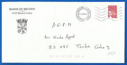Mairie  (1637) MEUDON LA FORET 92195 - 17 06 2002 - Marcofilie (Brieven)
