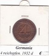 GERMANIA  4  REICHSPFENNIG  1932  LETTERA D  COME DA FOTO - [ 3] 1918-1933 : Weimar Republic
