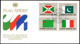ONU UNITED NATIONS NEW YORK 1984 - FLAGS - 4 FDC - AUSTRALIA / PARAGUAY / ITALY / PAKISTAN / CHILE / POLAND / ECUADOR