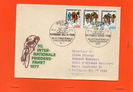 DOCUMENT + 3 TIMBRES  WARSHAU BERLIN PRAG 19/04/1977