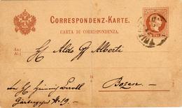 Italia 1881 Cartolina Postale Verso Bozen Correspondenz-karte