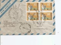 Egyptologie -Monuments De Nubie ( Lettre Premier Jour Par Avion D'Argentine De 1963 Vers La Tchécoslovaquie à Voir)