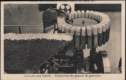 CARTE POSTALE ORIGINALE ANCIENNE : EXPOSITION PARIS 1931 PAVILLON DES TABACS CONFECTION PAQUETS DE CIGARETTES GAULOISES - Tabac