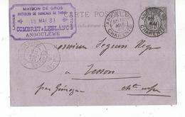 ENTIER POSTAL , Carte Postale , ANGOULEME , 1889 , GEMOZAC , Combret & LEBLANC
