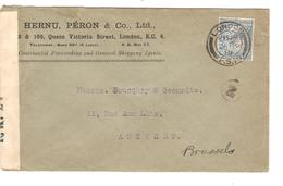 Great-Britain Advertising Cover Hernu Péron & Co Ltd C.London 1919 Censored To Belgium PR4678 - 1902-1951 (Könige)
