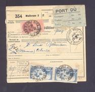 Colis Postal  Alsace Lorraine En Port Dû (pas Courant) De 5 Frs Mulhouse Pour Colmar 03/09/1937 TB