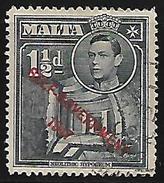 Malta British Colony Commonwealth Neolithic Hypogeum George KGVI 1&1/2d Overprinted Used Stamp  #AR:16 - Malta (...-1964)