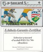 SUISSE - PHONE CARD - TAXCARD-PRIVÉE     ***  FOOT-USA 94 & BRÉSIL  ***