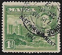 Malta British Colony Commonwealth Verdala Palace George KGVI 1d Overprinted Used Stamp  #AR:17 - Malta (...-1964)