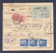 Colis Postal  Alsace Lorraine En Port Dû (pas Courant) De 5,60 Frs Sélestat Pour Colmar 20/12/1938 TB