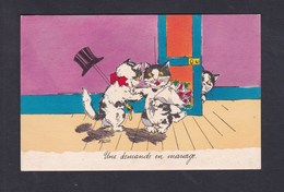 Illustrateur Bouret - Une Demande En Mariage ( Chat Chatte Cat Bouquet Fleurs Anthropomorphisme Chapeau Haut De Forme ) - Bouret, Germaine