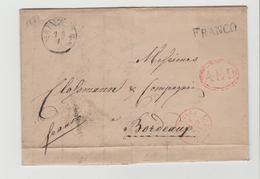 Pre281 /  PREUSSEN - Mainz 1841 Mit Einzeiler FRANCO + AED I, Oval Nach Bordeaux - Duitsland