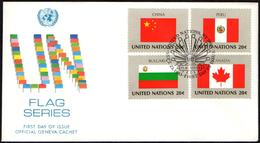 ONU UNITED NATIONS NEW YORK 1983 - FLAGS - 4 FDC - KENYA / UNITED KINGDOM / ISRAEL / BRAZIL / SWEDEN / CHINA / CANADA