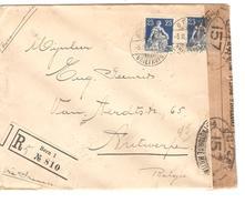 Suisse-Switzerland Registered Cover Censored Bern 1919 Via France To Belgium Antwerp PR4681 - Marcophilie