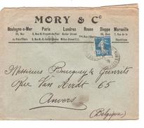 TP Semeuse S/L.à En-tête Mory & C° C.Paris En 1919 V.Anvers Belgique C.d'arrivée PR4682 - Marcophilie (Lettres)