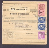 Colis Postal  Alsace Lorraine  De 5 Frs Saint Louis Pour Tromborn 24/11/1938 TB