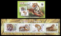North Korea 2017 Mih. 6363/66 Fauna. WWF. Siberian Tiger (booklet) MNH ** - Korea (Nord-)