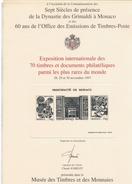 X EXPOSITION DES 70 TIMBRES ET DOCUMENTS PLUS RARES MONACO 1996 - Francobolli