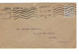 Great Britain Advertising Cover Paul Winn & C° Ltd Perfin London 1919 Censored To Belgium Antwerp PR4685