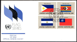 ONU UNITED NATIONS NEW YORK 1982 - FLAGS - 4 FDC - NICARAGUA / AUSTRIA / IRELAND / ALBANIA / BELGIUM / NIGERIA / GUYANA