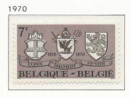 NB- [1566] Belgique 1970, 50 Ans Du Rattachement Des Cantons Rédimés (Eupen, Malmédy Et Saint-Vith) à La Belgique, Armoi