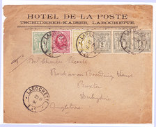 Luxembourg - Allegorie - 1894 - Four-color Franking ! Larochette To England - Advertising HOTEL DE LA POSTE