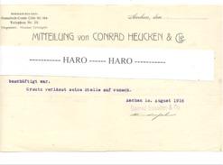 Empfehlungsschreiben - Conrad HEUCKEN & Cie In AACHEN 1916 (pog) - Belgien