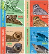 ROMANIA, 2017, ENDANGERED SPECIES, UNITED NATIONS, Eagle, Birds, Rodents, Fish, Set Of 4 + Label, MNH (**), LPMP 2145