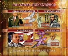 GUINE BISSAU 2007 SHEET HUMANISTS NELSON MANDELA ABRAHAM LINCOLN LUTHER KING MAHATMA GANDHI ORCHIDS NOBEL PRIZE Gb7114a - Guinée-Bissau