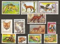 Renards -  Petit Lot De 12 Timbres° - Vulpes Vulpes - Vulpes Zerda - Fennec - Zorro Gris - Red Fox - Vrac (max 999 Timbres)