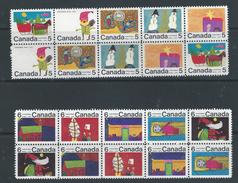 Canada 1970 Christmas 2 X Blocks Of Ten  -  Mint Never Hinged Original Gum Post Office Fresh
