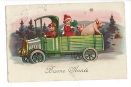 16887 - Bonne Année Camion  Couple Et Cochons - Nouvel An